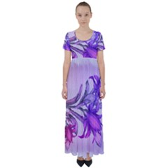 Flowers Flower Purple Flower High Waist Short Sleeve Maxi Dress