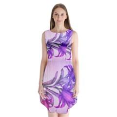 Flowers Flower Purple Flower Sleeveless Chiffon Dress