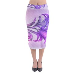 Flowers Flower Purple Flower Midi Pencil Skirt