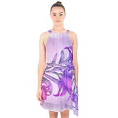 Flowers Flower Purple Flower Halter Collar Waist Tie Chiffon Dress