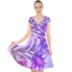 Flowers Flower Purple Flower Cap Sleeve Front Wrap Midi Dress