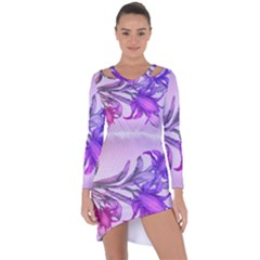 Flowers Flower Purple Flower Asymmetric Cut Out Shift Dress