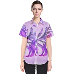 Flowers Flower Purple Flower Women s Short Sleeve Shirt