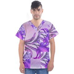 Flowers Flower Purple Flower Men s V Neck Scrub Top