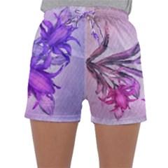 Flowers Flower Purple Flower Sleepwear Shorts