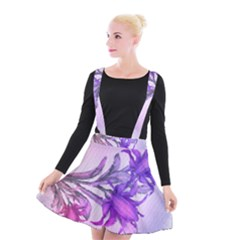 Flowers Flower Purple Flower Suspender Skater Skirt