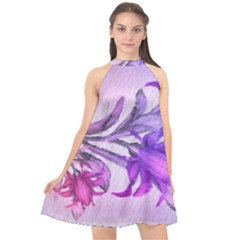 Flowers Flower Purple Flower Halter Neckline Chiffon Dress