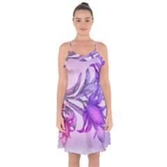 Flowers Flower Purple Flower Ruffle Detail Chiffon Dress