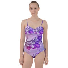Flowers Flower Purple Flower Sweetheart Tankini Set