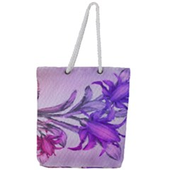 Flowers Flower Purple Flower Full Print Rope Handle Tote (large)