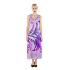 Flowers Flower Purple Flower Sleeveless Maxi Dress