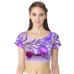 Flowers Flower Purple Flower Short Sleeve Crop Top