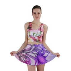 Flowers Flower Purple Flower Mini Skirt