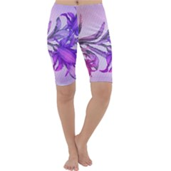 Flowers Flower Purple Flower Cropped Leggings