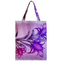 Flowers Flower Purple Flower Zipper Classic Tote Bag
