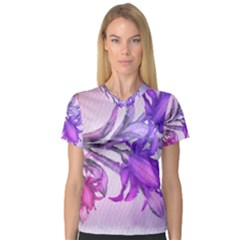 Flowers Flower Purple Flower V Neck Sport Mesh Tee