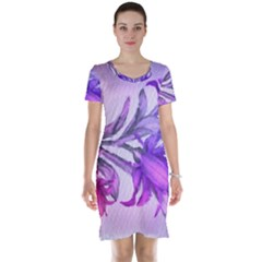 Flowers Flower Purple Flower Short Sleeve Nightdress