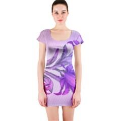 Flowers Flower Purple Flower Short Sleeve Bodycon Dress