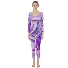 Flowers Flower Purple Flower Long Sleeve Catsuit