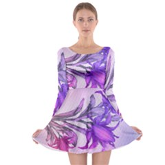 Flowers Flower Purple Flower Long Sleeve Skater Dress