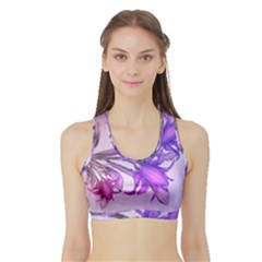 Flowers Flower Purple Flower Sports Bra With Border