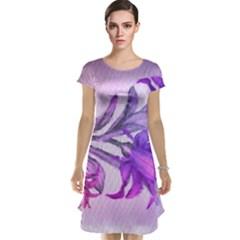 Flowers Flower Purple Flower Cap Sleeve Nightdress