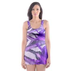 Flowers Flower Purple Flower Skater Dress Swimsuit