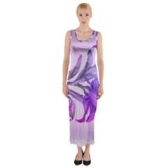 Flowers Flower Purple Flower Fitted Maxi Dress