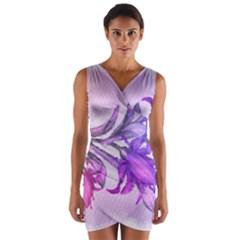 Flowers Flower Purple Flower Wrap Front Bodycon Dress
