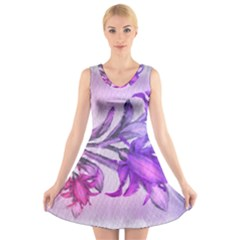 Flowers Flower Purple Flower V Neck Sleeveless Skater Dress
