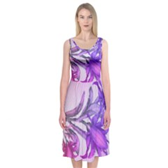 Flowers Flower Purple Flower Midi Sleeveless Dress