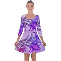 Flowers Flower Purple Flower Quarter Sleeve Skater Dress