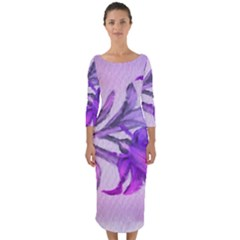 Flowers Flower Purple Flower Quarter Sleeve Midi Bodycon Dress