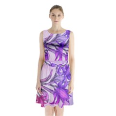 Flowers Flower Purple Flower Sleeveless Waist Tie Chiffon Dress