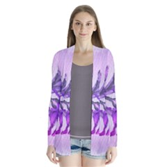 Flowers Flower Purple Flower Drape Collar Cardigan