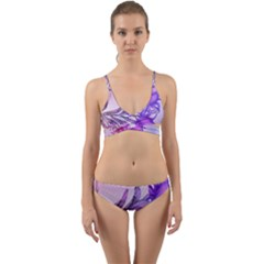Flowers Flower Purple Flower Wrap Around Bikini Set
