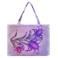 Flowers Flower Purple Flower Zipper Medium Tote Bag