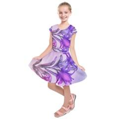Flowers Flower Purple Flower Kids  Short Sleeve Dress