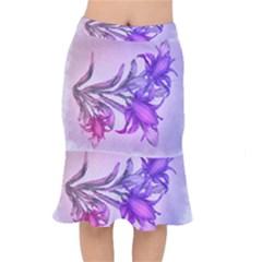 Flowers Flower Purple Flower Mermaid Skirt