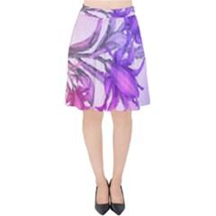 Flowers Flower Purple Flower Velvet High Waist Skirt