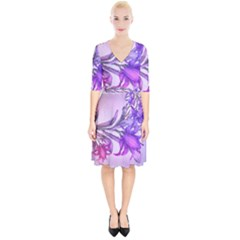 Flowers Flower Purple Flower Wrap Up Cocktail Dress