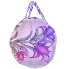 Flowers Flower Purple Flower Giant Round Zipper Tote