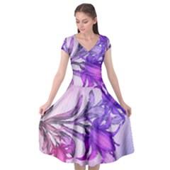 Flowers Flower Purple Flower Cap Sleeve Wrap Front Dress