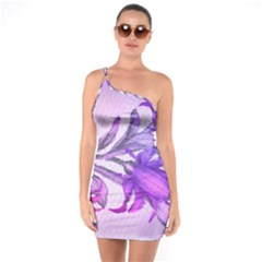 Flowers Flower Purple Flower One Soulder Bodycon Dress