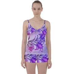 Flowers Flower Purple Flower Tie Front Two Piece Tankini