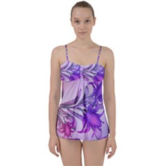 Flowers Flower Purple Flower Babydoll Tankini Set