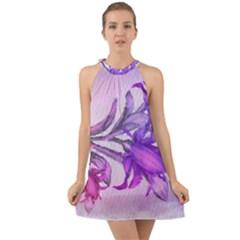 Flowers Flower Purple Flower Halter Tie Back Chiffon Dress