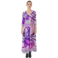 Flowers Flower Purple Flower Button Up Boho Maxi Dress
