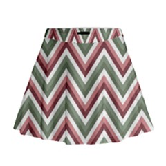 Chevron Blue Pink Mini Flare Skirt