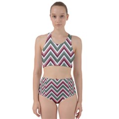 Chevron Blue Pink Racer Back Bikini Set